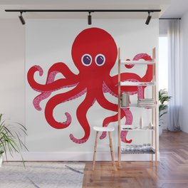 Octopus (Red) Wall Mural