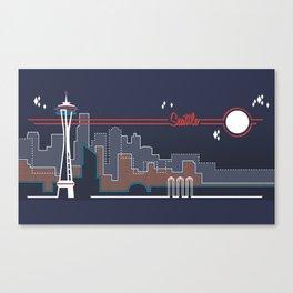 Seattle Skyline // Retroscape Canvas Print