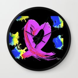 Pink Heart Ribbon (with Tie-Dye Blue-Yellow) for Breast Cancer Research by Jeffrey G. Rosenberg Wall Clock