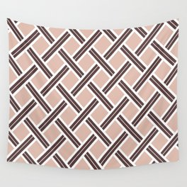 Modern Open Weave Pattern in Neutrals and Plums Wall Tapestry