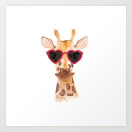 Giraffe in sunglasses - Lovely watercolor animals illustration Art Print
