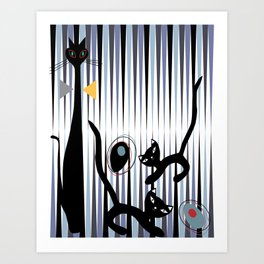 Mid-Century Modern Art - Cat & Kittens Art Print