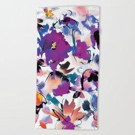 Sara Floral Blue Beach Towel