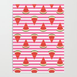 watermelon fruit stripes food fight apparel and gifts Poster