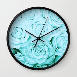 Turquoise roses - flower pattern - Vintage rose Wall Clock