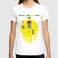 neymar T-shirts featuring Neymar Brazil Illustration Print by Gary  Ralphs Illustrations