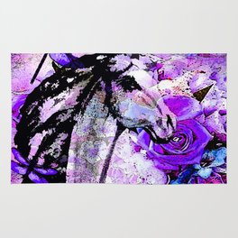 HORSE ROSES DRAGONFLY IMPRESSIONS Rug