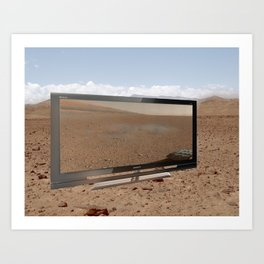 An Image Taken by Curiosity on Mars Displayed in the Nevada Desert Art Print