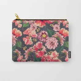 Vintage Flowers and Bees Carry-All Pouch