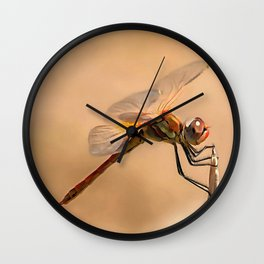 Painted Dragonfly Isolated Against Ecru Wall Clock