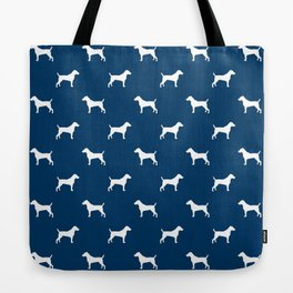 Jack Russell Terrier navy and white minimal dog pattern dog silhouette pattern Tote Bag