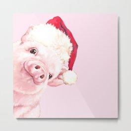 Sneaky Santa Baby Pig Metal Print