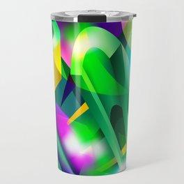 GREEN-ACID Cubism Abstract Digital Art Travel Mug