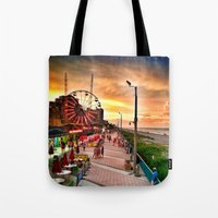 boardwalk empire Tote Bags featuring Boardwalk  by Justin Alan Casey