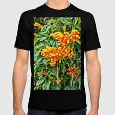 Spectacular orange trumpet flower Black Mens Fitted Tee MEDIUM