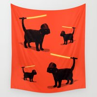 baby Wall Tapestries featuring Cat Vader by nicebleed