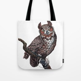 Great Horned Owl with Headphones Tote Bag