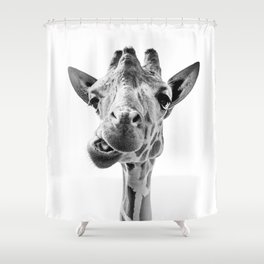 Giraffe Portrait Black and White Shower Curtain