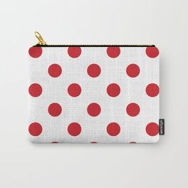 Polka Dots - Fire Engine Red on White Carry-All Pouch