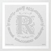 Joshua 24:15 - (Letterpress) Monogram R Art Print