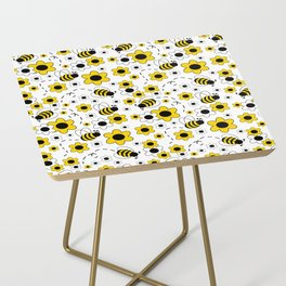 Honey Bumble Bee Yellow Floral Pattern Side Table