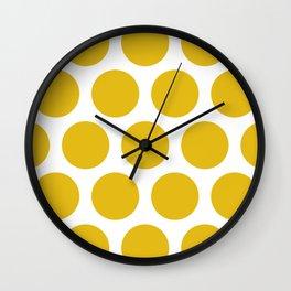 Mustard Yellow Large Polka Dots Wall Clock
