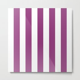 Violet (crayola) - solid color - white vertical lines pattern Metal Print