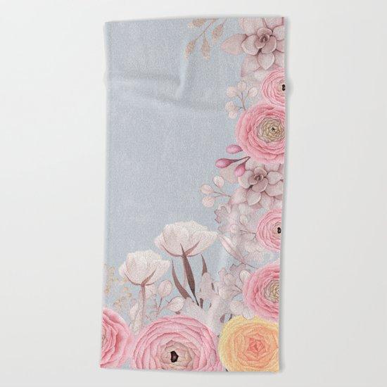 Floral Spring Greatings - Pastel Flowers on #Society6 Beach Towel