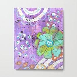 Mixed media painted background with flowers Metal Print