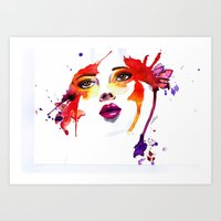 The lady in Red  Art Print