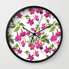 April blooms IV - Fuchsia White Wall Clock