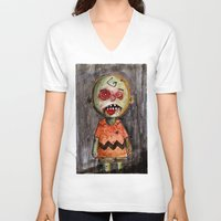 charlie brown V-neck T-shirts featuring You're a zombie Charlie Brown by byron rempel