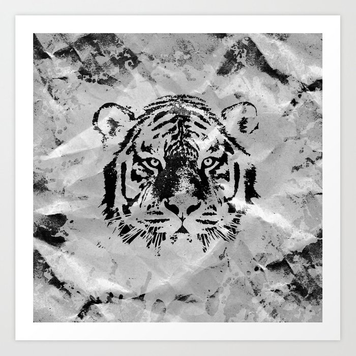 76ddb7556 Black and white Tiger portrait on paper canvas Art Print by ...