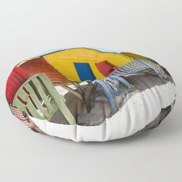 Colorful beach huts Floor Pillow