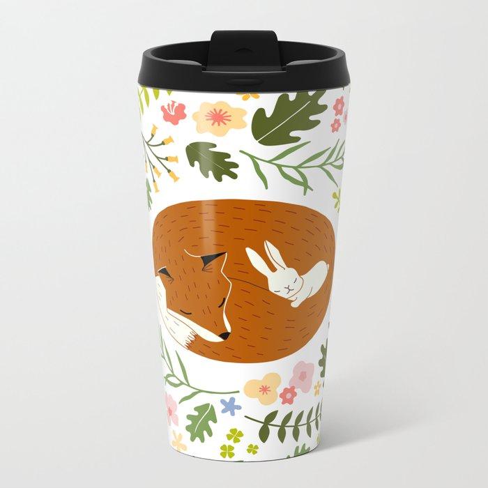 Friendship in Wildlife_Fox and Bunny_Bg White Metal Travel Mug