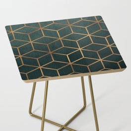 Dark Teal and Gold - Geometric Textured Gradient Cube Design Side Table