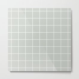 Gray Grey Grid Sea Salt Metal Print