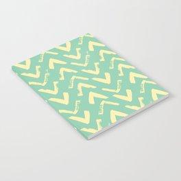 Modern Brush Stroke Chevrons - Green & Yellow Notebook