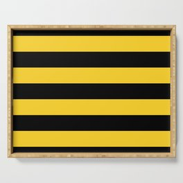 Yellow and Black Honey Bee Horizontal Cabana Tent Stripes Serving Tray