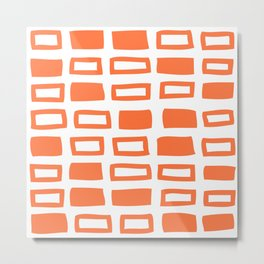 Mid Century Modern Abstract Squares Pattern 442 Orange Metal Print
