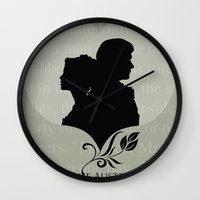 pride and prejudice Wall Clocks featuring Pride and Prejudice by Clarc