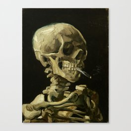 Skull of a Skeleton with Burning Cigarette by Vincent van Gogh Canvas Print