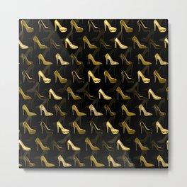 High Heels Golden Shoes pattern Metal Print