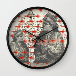 THE TWO WOMEN WITH COIN NECKLACES AND THE MANY SMALL RED LOBSTERS Wall Clock
