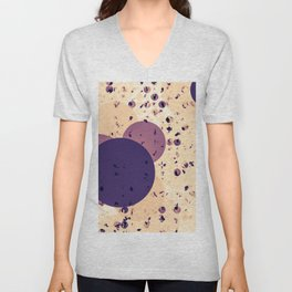 geometric circle shape abstract background in brown and purple Unisex V-Neck