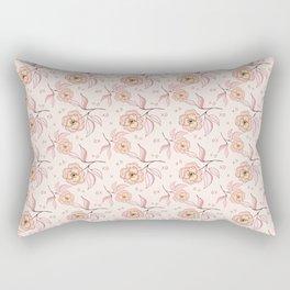 Pink Peony Kiss Floral Pattern Rectangular Pillow