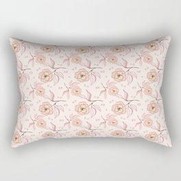 Pink Peony Kiss Floral Pattern Rectangular Pillow