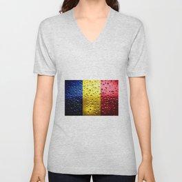 Flag of Romania - Raindrops Unisex V-Neck