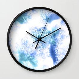 Bright Blue Marble Crystal Watercolor Wall Clock