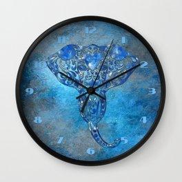 Blue Denim Elephant Wall Clock